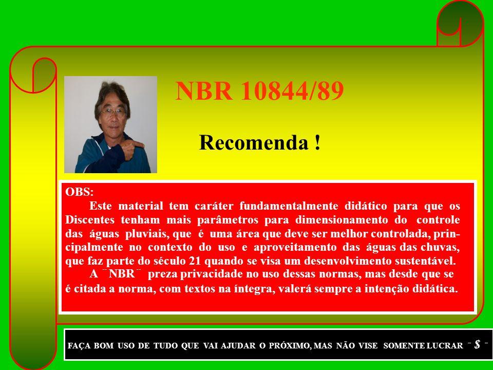 NBR 10844/89 Recomenda ! OBS: Este material tem caráter fundamentalmente didático para que os.