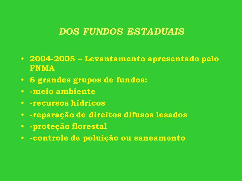 DOS FUNDOS ESTADUAIS 2004-2005 – Levantamento apresentado pelo FNMA