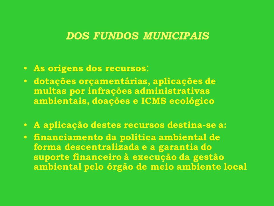 DOS FUNDOS MUNICIPAIS As origens dos recursos: