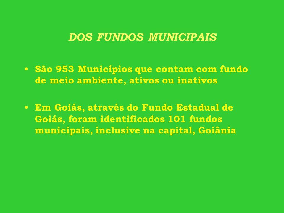DOS FUNDOS MUNICIPAIS São 953 Municípios que contam com fundo de meio ambiente, ativos ou inativos.