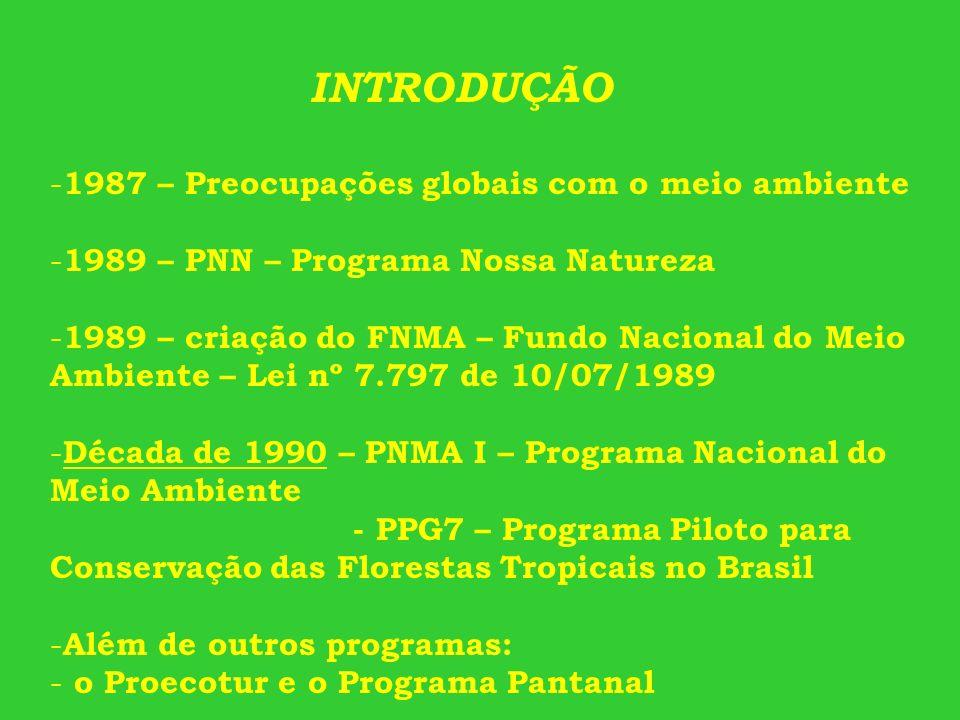 INTRODUÇÃO 1987 – Preocupações globais com o meio ambiente. 1989 – PNN – Programa Nossa Natureza.