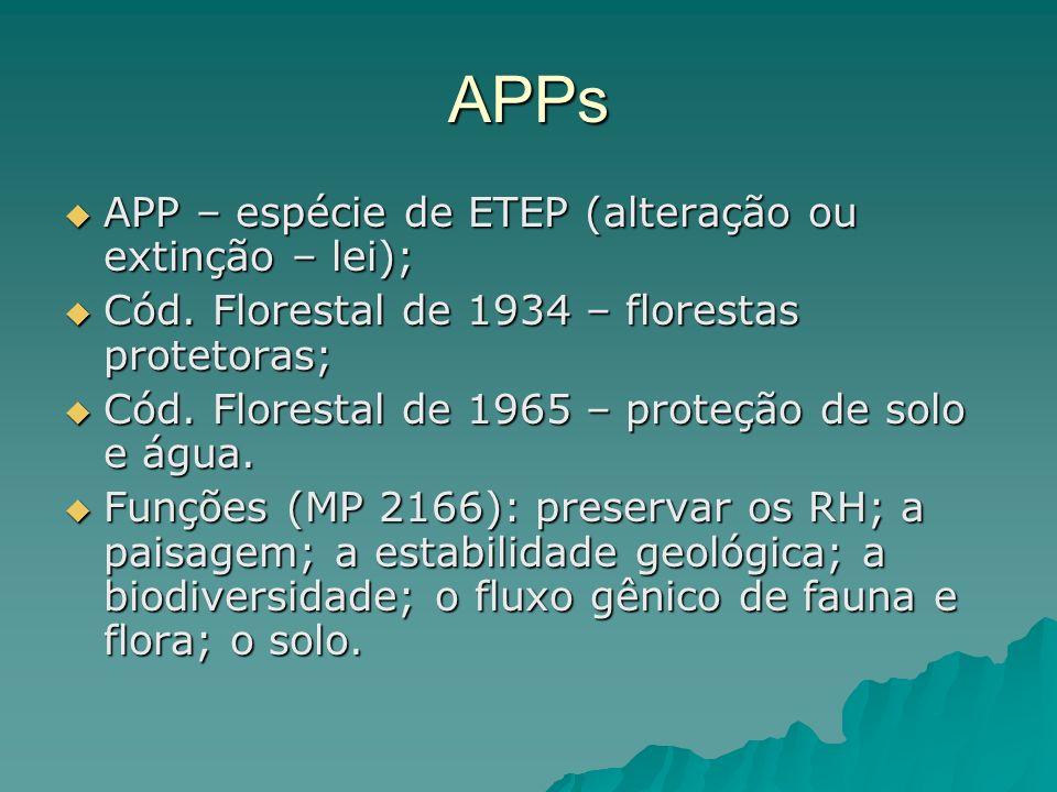 APPs APP – espécie de ETEP (alteração ou extinção – lei);