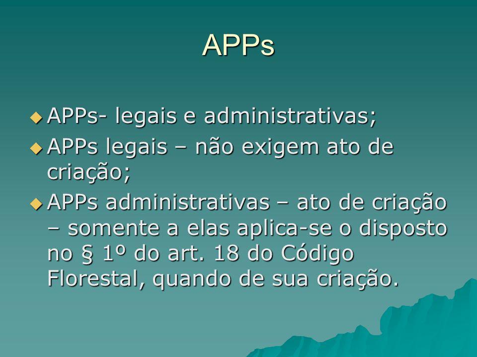 APPs APPs- legais e administrativas;