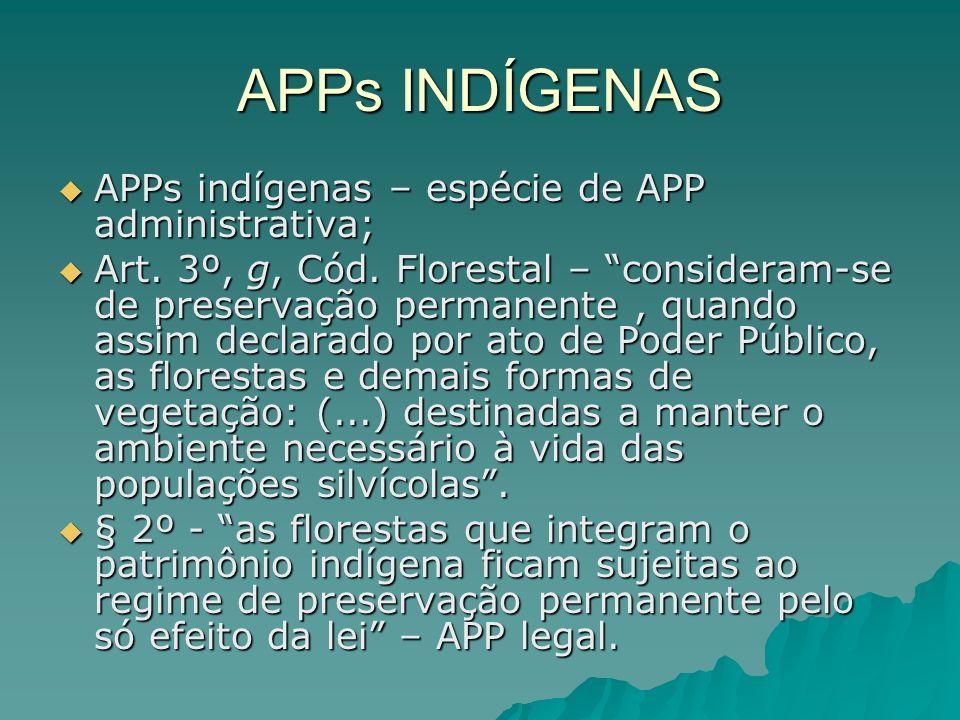 APPs INDÍGENAS APPs indígenas – espécie de APP administrativa;