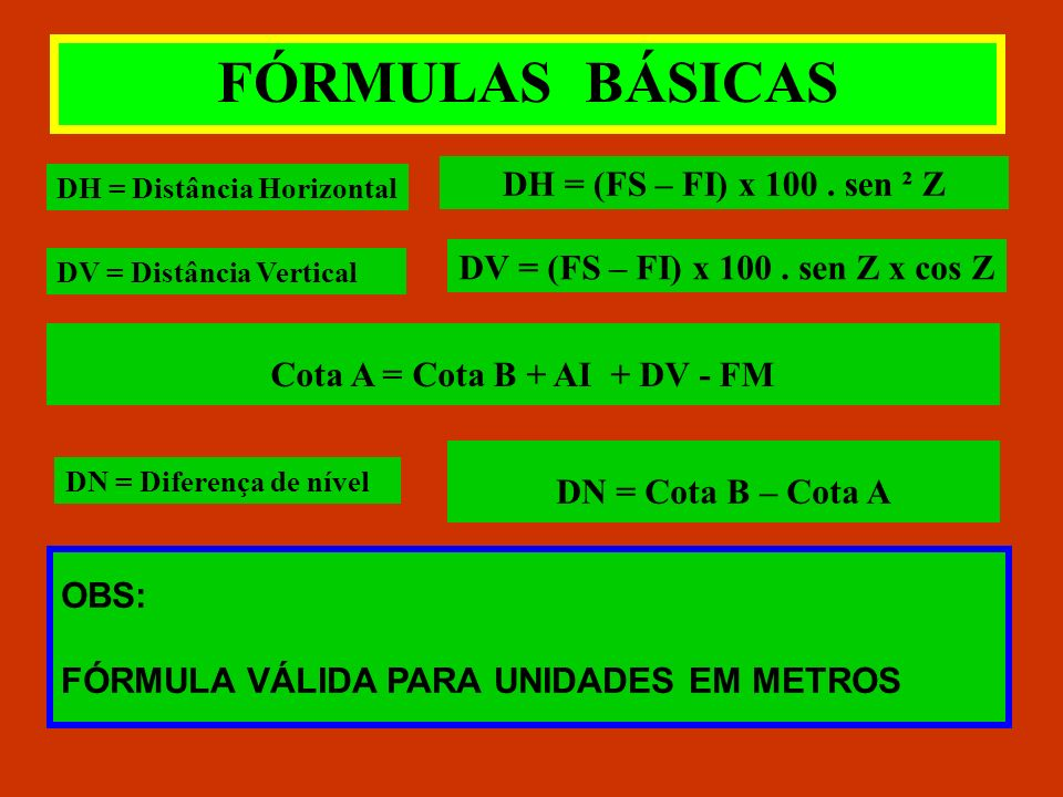 DV = (FS – FI) x 100 . sen Z x cos Z Cota A = Cota B + AI + DV - FM