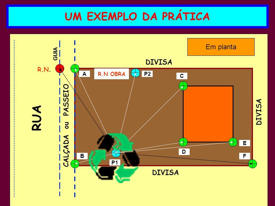 RUA UM EXEMPLO DA PRÁTICA Em planta DIVISA CALÇADA ou PASSEIO DIVISA