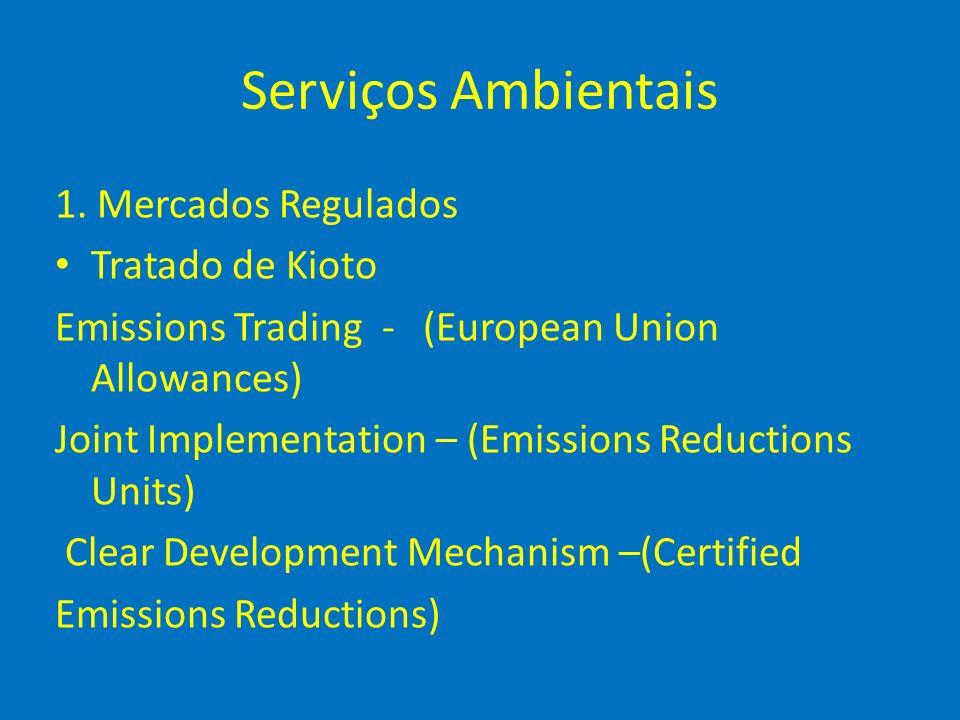 Serviços Ambientais 1. Mercados Regulados Tratado de Kioto