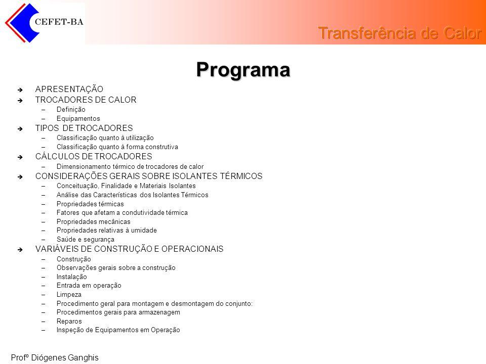 Programa APRESENTAÇÃO TROCADORES DE CALOR TIPOS DE TROCADORES