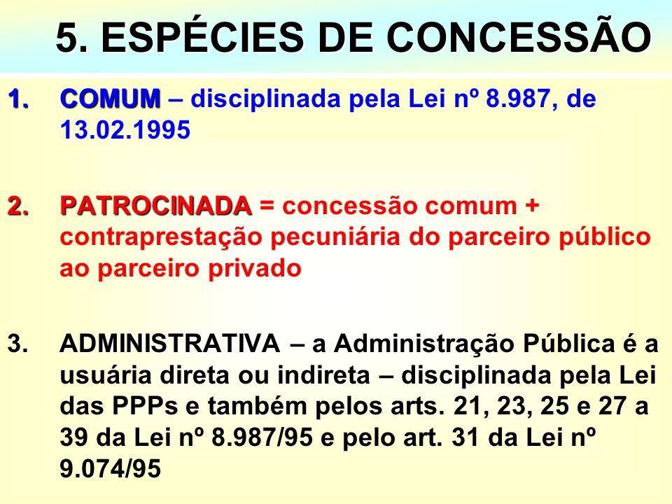 5. ESPÉCIES DE CONCESSÃO COMUM – disciplinada pela Lei nº 8.987, de 13.02.1995.