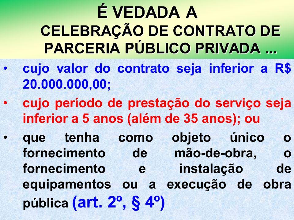 É VEDADA A CELEBRAÇÃO DE CONTRATO DE PARCERIA PÚBLICO PRIVADA ...
