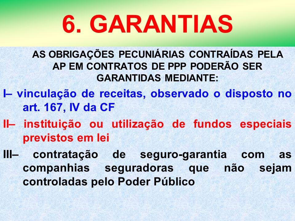 6. GARANTIAS AS OBRIGAÇÕES PECUNIÁRIAS CONTRAÍDAS PELA AP EM CONTRATOS DE PPP PODERÃO SER GARANTIDAS MEDIANTE: