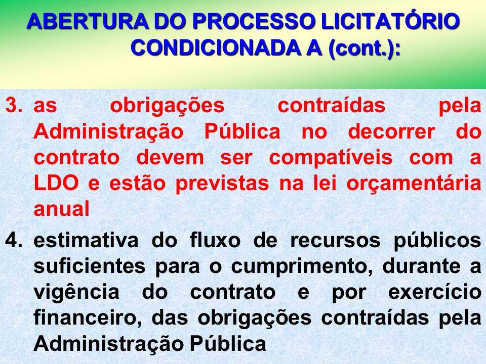 ABERTURA DO PROCESSO LICITATÓRIO CONDICIONADA A (cont.):