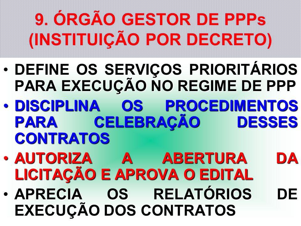 9. ÓRGÃO GESTOR DE PPPs (INSTITUIÇÃO POR DECRETO)