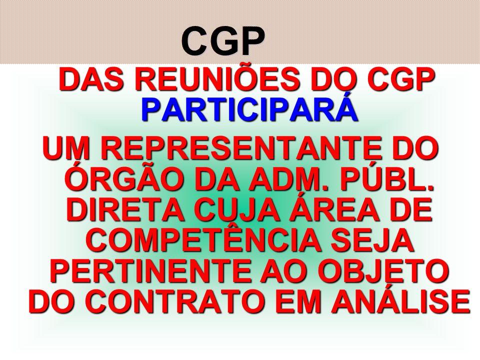 DAS REUNIÕES DO CGP PARTICIPARÁ