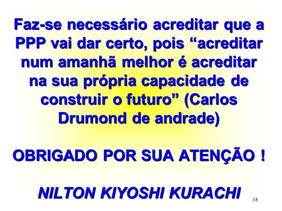Faz-se necessário acreditar que a PPP vai dar certo, pois acreditar num amanhã melhor é acreditar na sua própria capacidade de construir o futuro (Carlos Drumond de andrade) OBRIGADO POR SUA ATENÇÃO .
