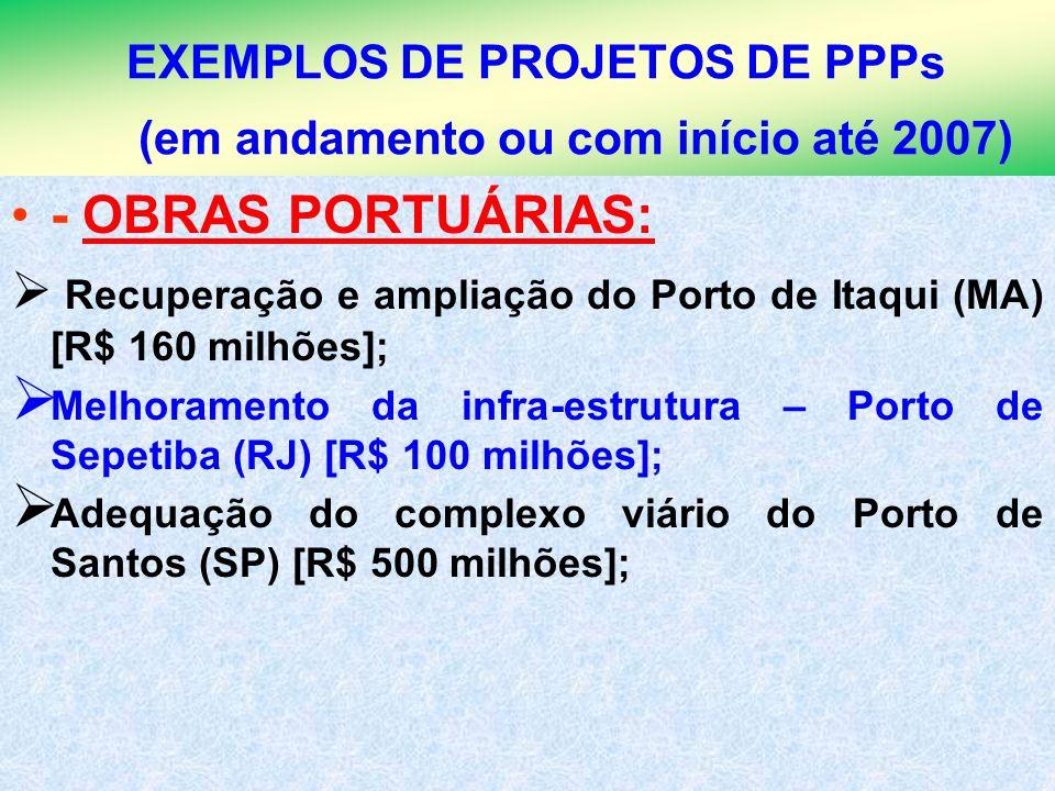 EXEMPLOS DE PROJETOS DE PPPs (em andamento ou com início até 2007)