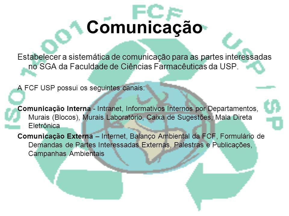 Comunicação Estabelecer a sistemática de comunicação para as partes interessadas no SGA da Faculdade de Ciências Farmacêuticas da USP.