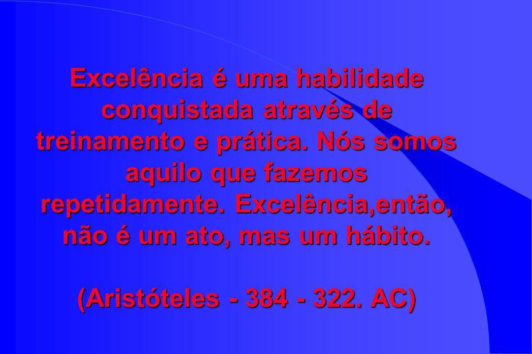 Excelência é uma habilidade conquistada através de treinamento e prática.