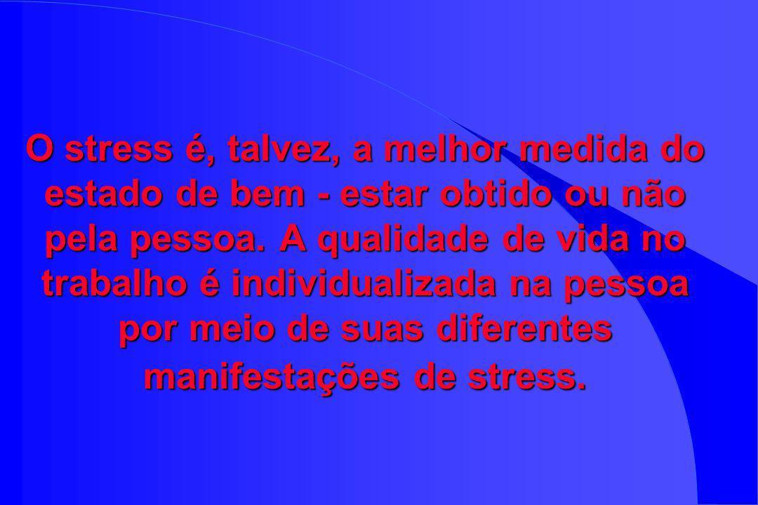 O stress é, talvez, a melhor medida do estado de bem - estar obtido ou não pela pessoa.