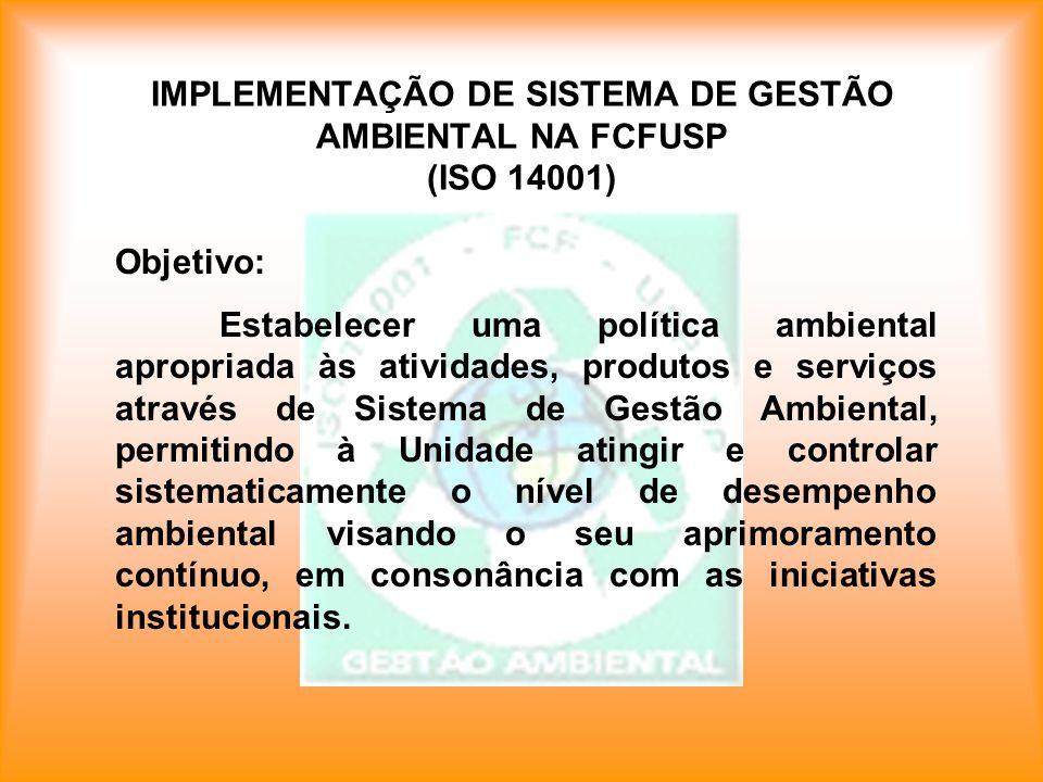 IMPLEMENTAÇÃO DE SISTEMA DE GESTÃO AMBIENTAL NA FCFUSP (ISO 14001)