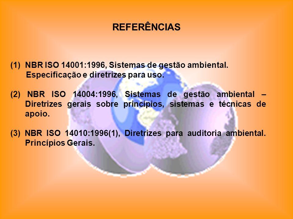 REFERÊNCIAS NBR ISO 14001:1996, Sistemas de gestão ambiental.