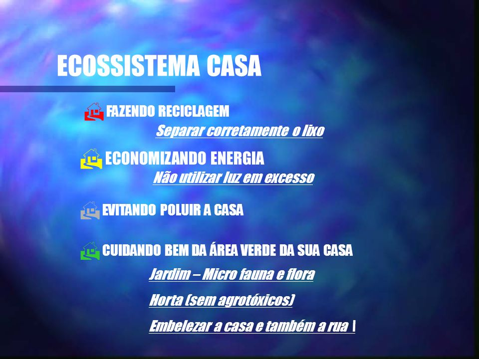 ECOSSISTEMA CASA ECONOMIZANDO ENERGIA FAZENDO RECICLAGEM