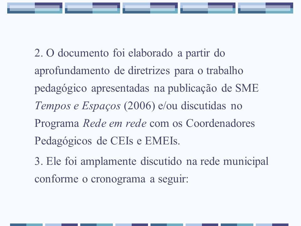 2. O documento foi elaborado a partir do aprofundamento de diretrizes para o trabalho pedagógico apresentadas na publicação de SME Tempos e Espaços (2006) e/ou discutidas no Programa Rede em rede com os Coordenadores Pedagógicos de CEIs e EMEIs.