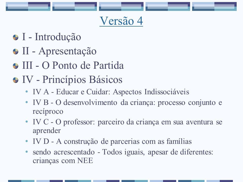 Versão 4 I - Introdução II - Apresentação III - O Ponto de Partida