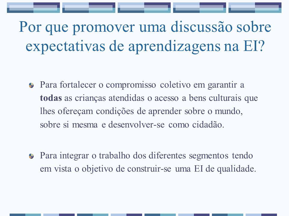 Por que promover uma discussão sobre expectativas de aprendizagens na EI