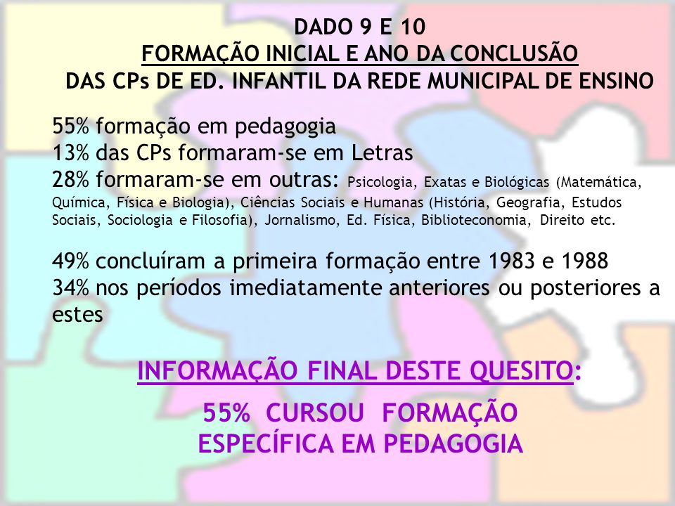 INFORMAÇÃO FINAL DESTE QUESITO: 55% CURSOU FORMAÇÃO