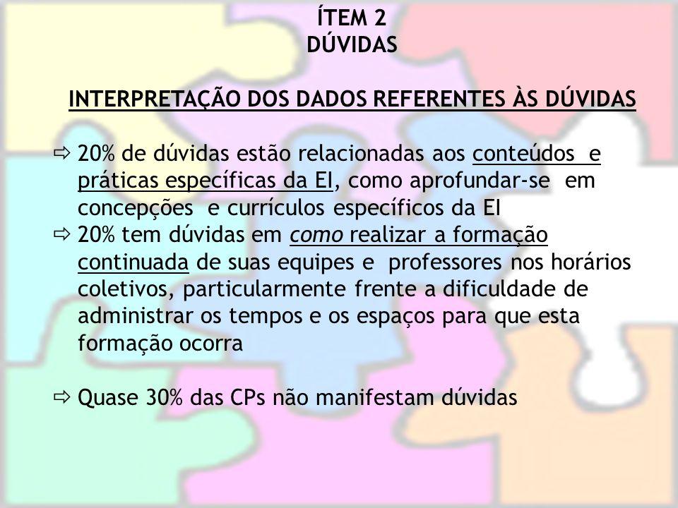 INTERPRETAÇÃO DOS DADOS REFERENTES ÀS DÚVIDAS