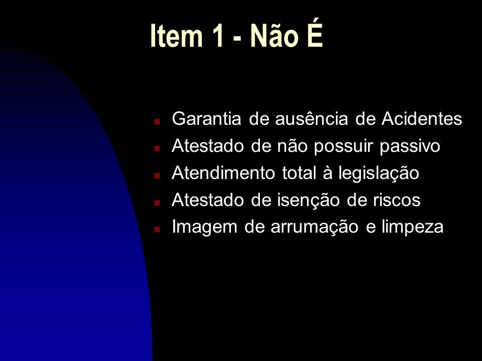 Item 1 - Não É Garantia de ausência de Acidentes