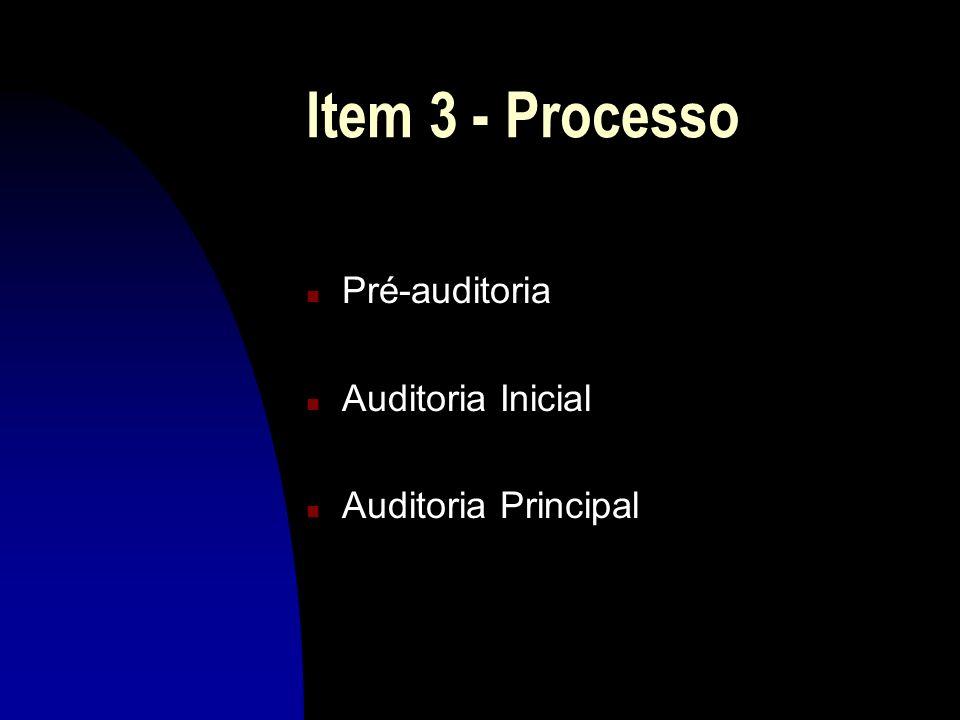 Item 3 - Processo Pré-auditoria Auditoria Inicial Auditoria Principal
