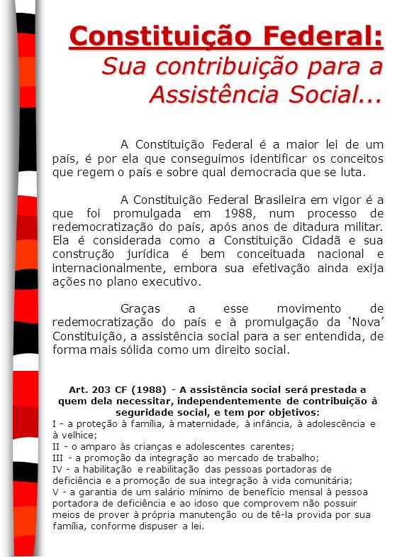 Constituição Federal: Sua contribuição para a Assistência Social...