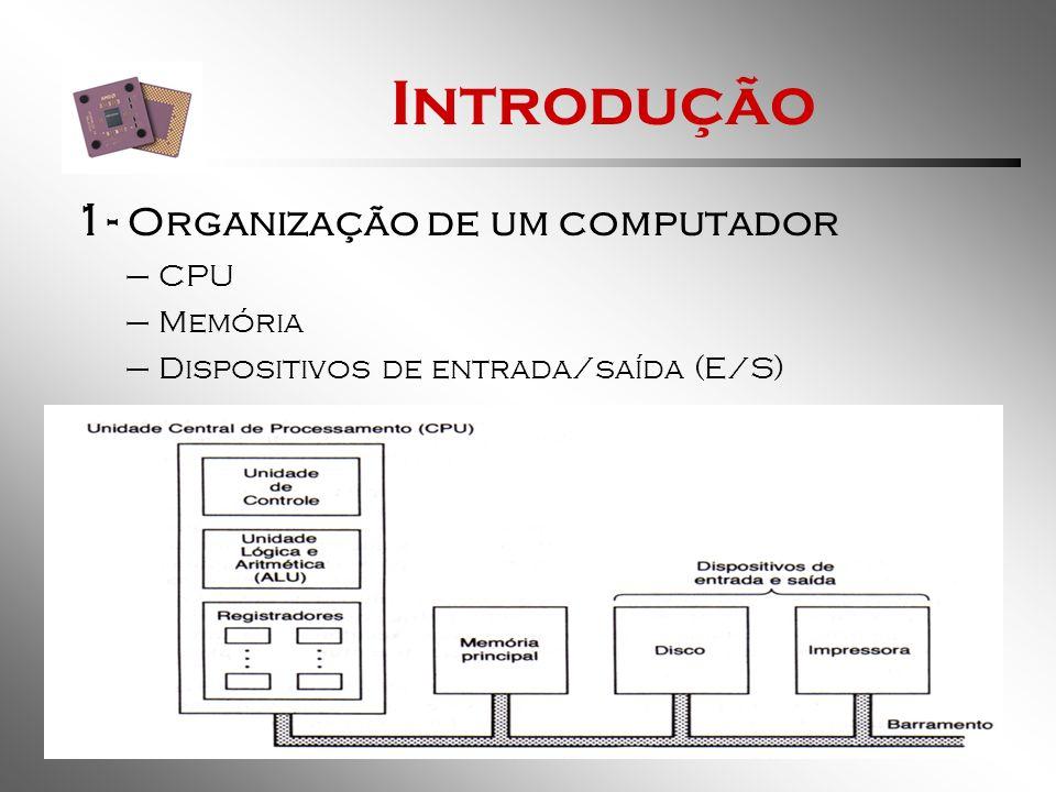 Introdução 1- Organização de um computador CPU Memória