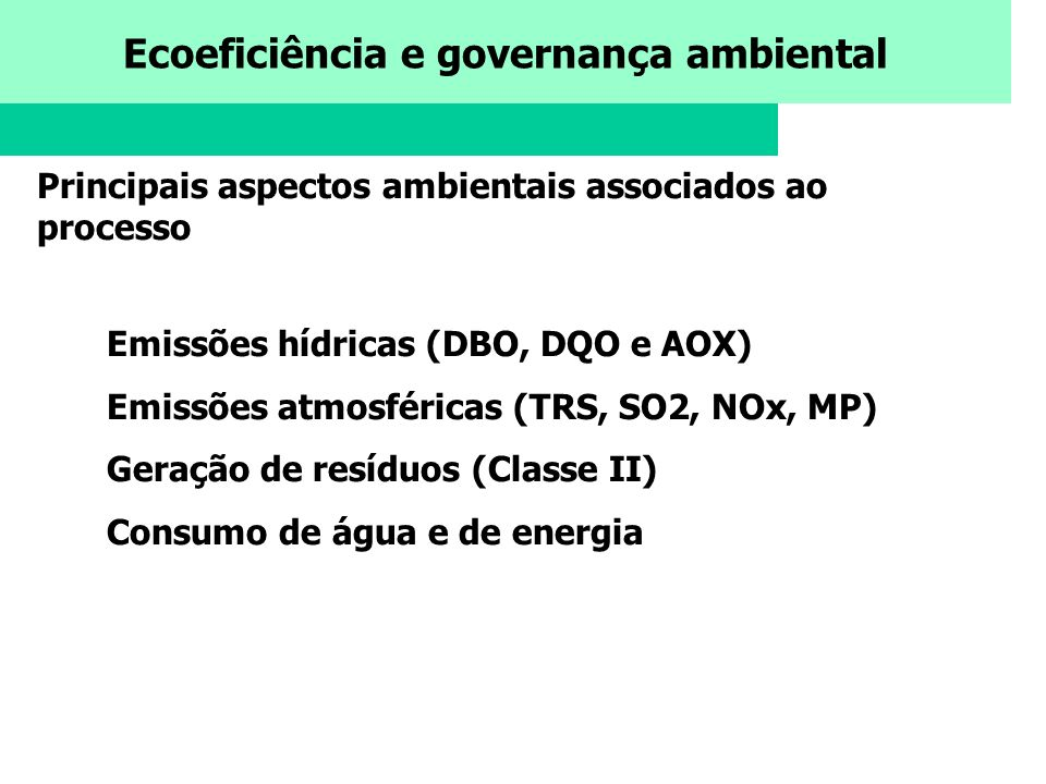 Principais aspectos ambientais associados ao processo