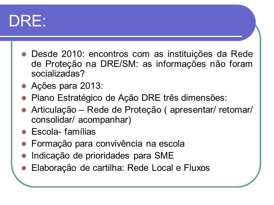 DRE: Desde 2010: encontros com as instituições da Rede de Proteção na DRE/SM: as informações não foram socializadas
