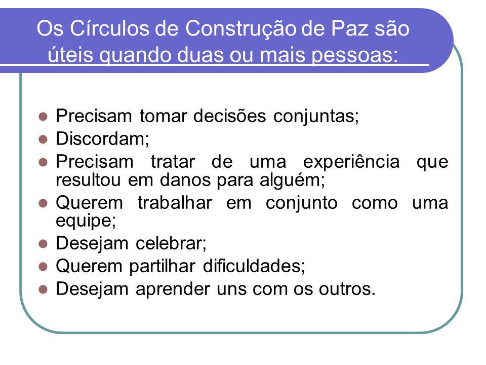 Os Círculos de Construção de Paz são úteis quando duas ou mais pessoas: