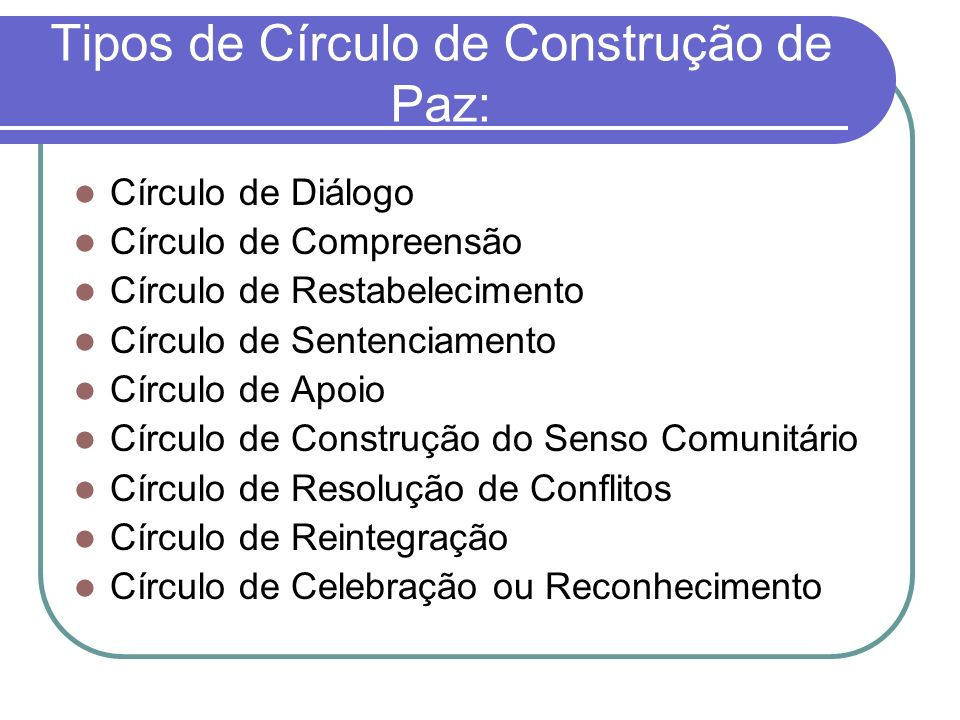 Tipos de Círculo de Construção de Paz: