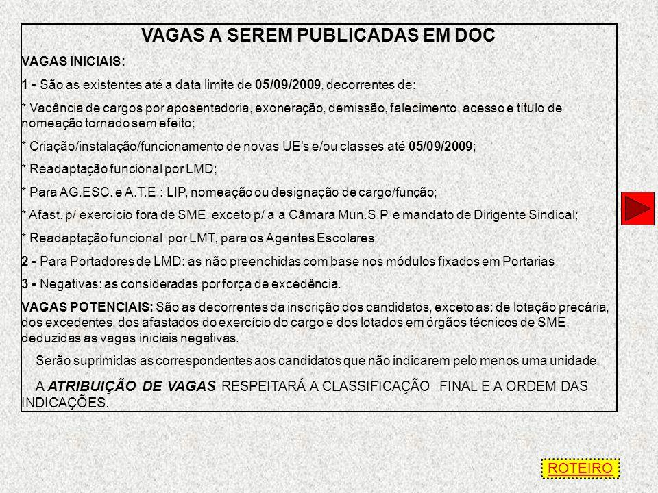 VAGAS A SEREM PUBLICADAS EM DOC