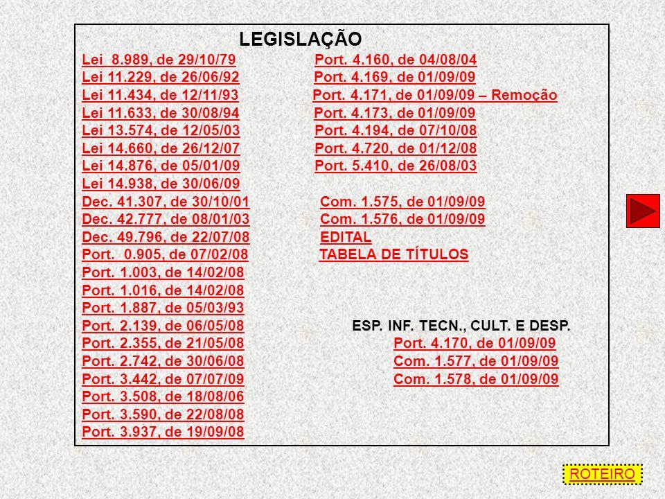 LEGISLAÇÃO Lei 8.989, de 29/10/79 Port. 4.160, de 04/08/04
