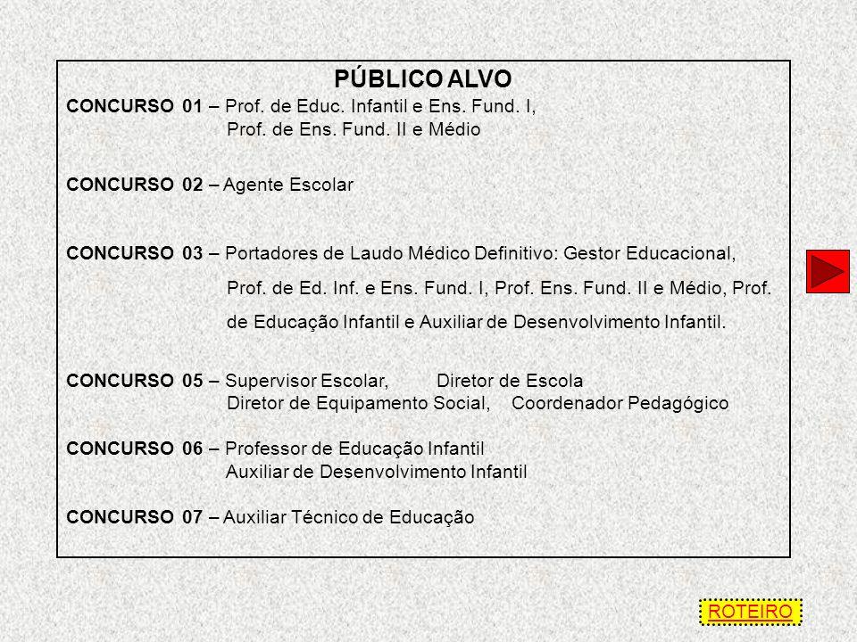 PÚBLICO ALVO CONCURSO 01 – Prof. de Educ. Infantil e Ens. Fund. I,