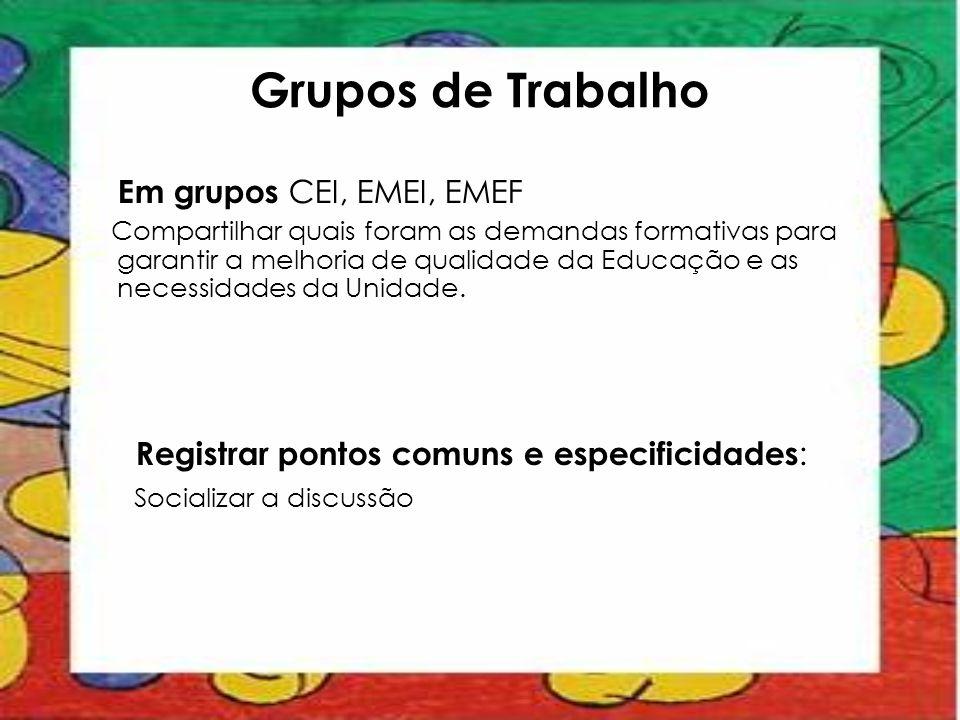 Grupos de Trabalho Em grupos CEI, EMEI, EMEF