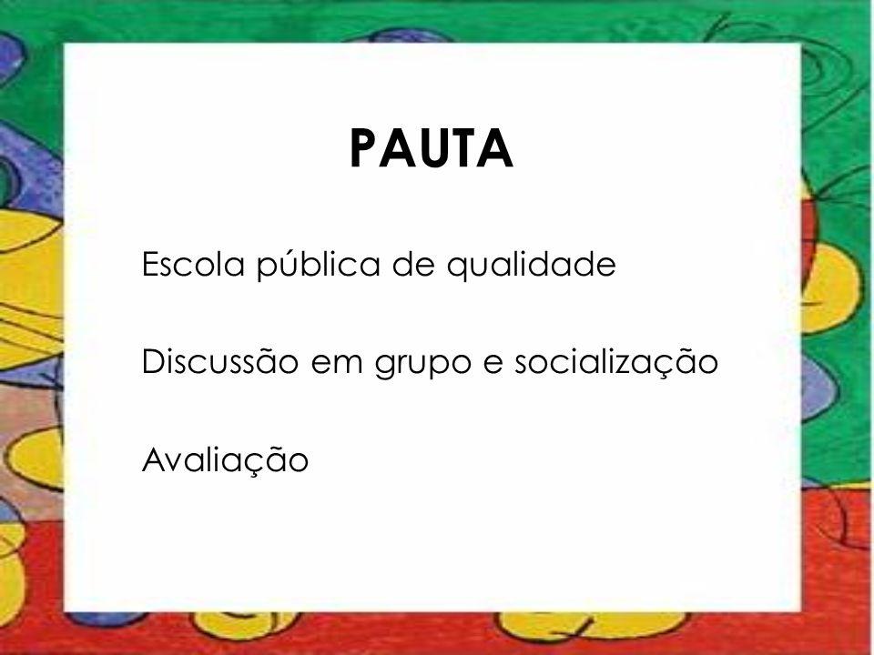 PAUTA Escola pública de qualidade Discussão em grupo e socialização