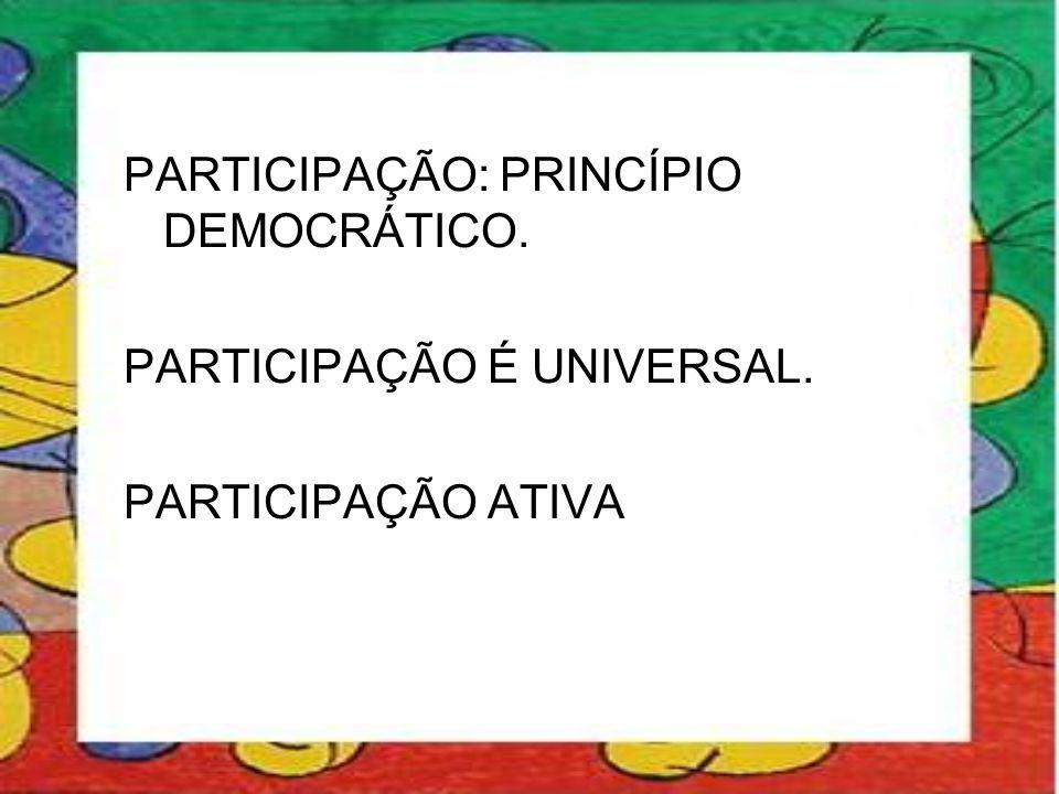 PARTICIPAÇÃO: PRINCÍPIO DEMOCRÁTICO.