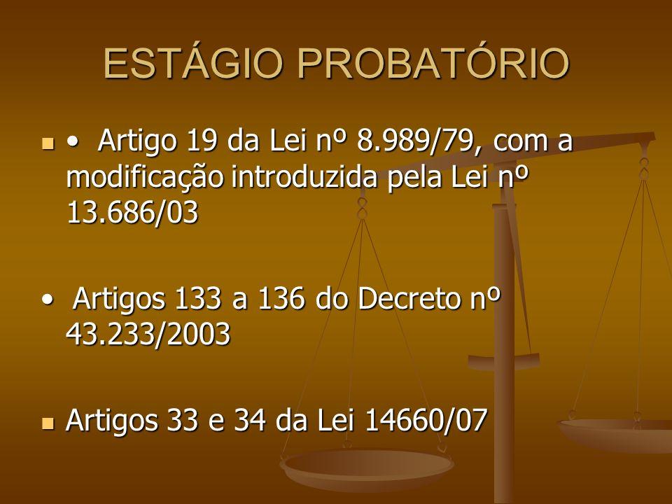 ESTÁGIO PROBATÓRIO • Artigo 19 da Lei nº 8.989/79, com a modificação introduzida pela Lei nº 13.686/03.