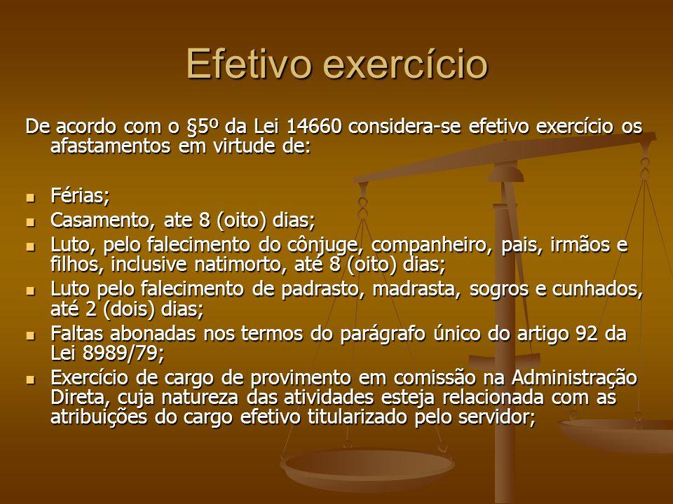 Efetivo exercício De acordo com o §5º da Lei 14660 considera-se efetivo exercício os afastamentos em virtude de: