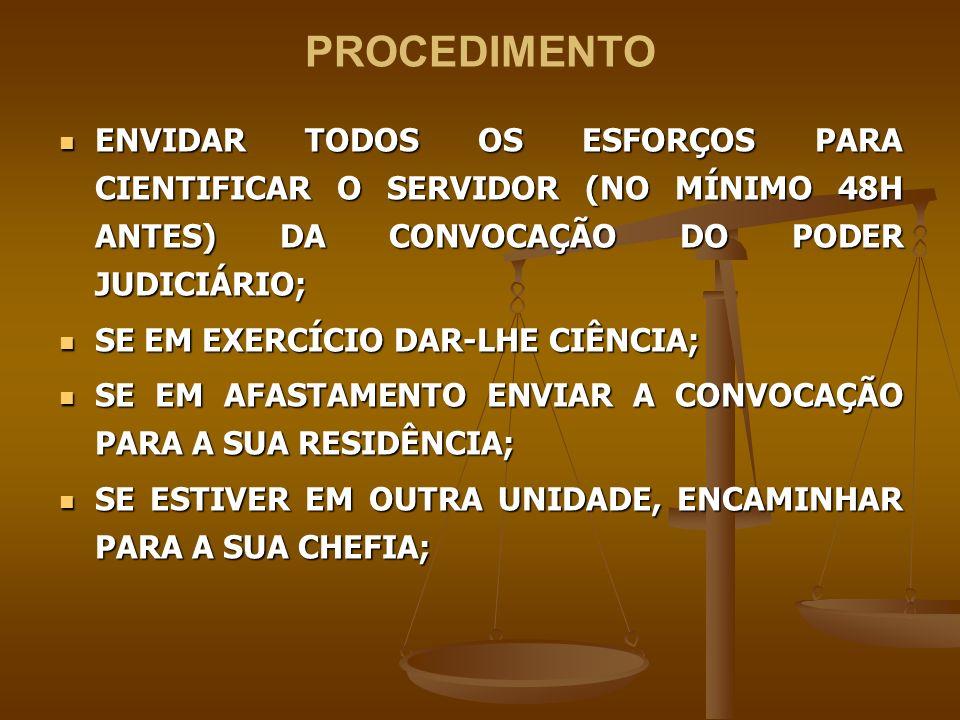 PROCEDIMENTO ENVIDAR TODOS OS ESFORÇOS PARA CIENTIFICAR O SERVIDOR (NO MÍNIMO 48H ANTES) DA CONVOCAÇÃO DO PODER JUDICIÁRIO;