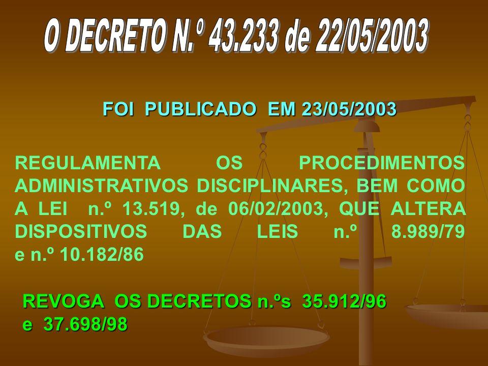 O DECRETO N.º 43.233 de 22/05/2003 FOI PUBLICADO EM 23/05/2003