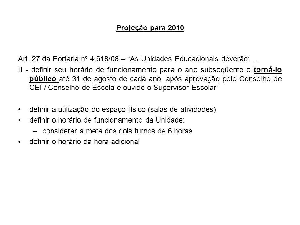 Projeção para 2010 Art. 27 da Portaria nº 4.618/08 – As Unidades Educacionais deverão: ...